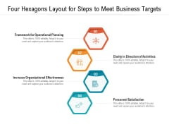 Four Hexagons Layout For Steps To Meet Business Targets Ppt PowerPoint Presentation Gallery Example File PDF