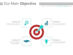 Four Icons Around Target Board For Business Powerpoint Slides