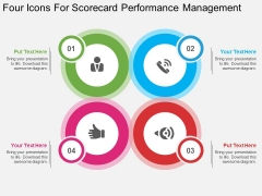 Four Icons For Scorecard Performance Management Powerpoint Template