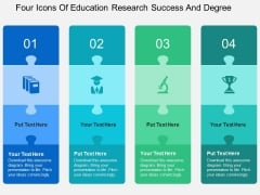 Four Icons Of Education Research Success And Degree Powerpoint Templates