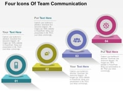Four Icons Of Team Communication Powerpoint Templates