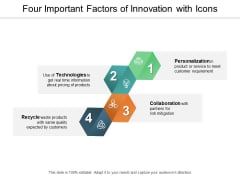 Four Important Factors Of Innovation With Icons Ppt PowerPoint Presentation Portfolio Guide