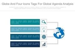 Four Infographic Tags For Global Agenda Analysis Powerpoint Template