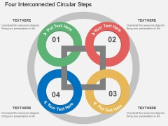 Four Interconnected Circular Steps Powerpoint Templates