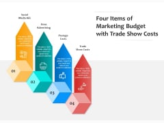 Four Items Of Marketing Budget With Trade Show Costs Ppt PowerPoint Presentation File Clipart PDF