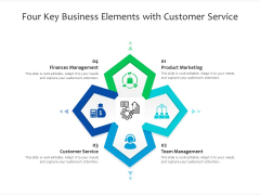 Four Key Business Elements With Customer Service Ppt PowerPoint Presentation File Gallery PDF