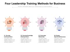 Four Leadership Training Methods For Business Ppt PowerPoint Presentation Slides Inspiration PDF