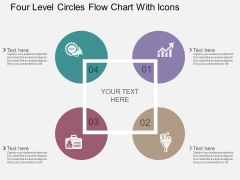 Four Level Circles Flow Chart With Icons Powerpoint Template