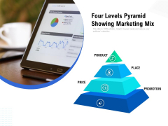 four levels pyramid showing marketing mix ppt powerpoint presentation icon images pdf