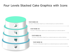 Four Levels Stacked Cake Graphics With Icons Ppt PowerPoint Presentation Inspiration Vector PDF