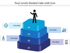 Four Levels Stacked Cake With Icon Ppt PowerPoint Presentation Gallery Aids PDF