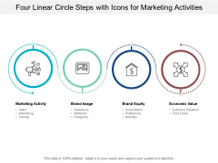 Four Linear Circle Steps With Icons For Marketing Activities Ppt PowerPoint Presentation Icon Skills