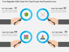 Four Magnifier With Chain Pie Chart Puzzle And Pyramid Icons Powerpoint Templates