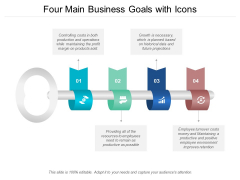 Four Main Business Goals With Icons Ppt PowerPoint Presentation File Graphics Template