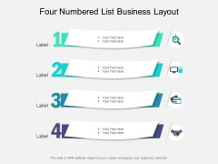 Four Numbered List Business Layout Ppt PowerPoint Presentation Pictures Topics