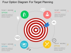 Four Option Diagram For Target Planning Powerpoint Templates