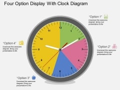 Four Option Display With Clock Diagram Powerpoint Template