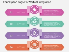 Four Option Tags For Vertical Integration Powerpoint Template