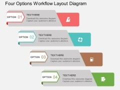 Four Options Workflow Layout Diagram Powerpoint Template