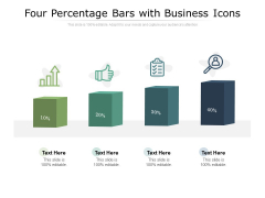 Four Percentage Bars With Business Icons Ppt PowerPoint Presentation Ideas Rules