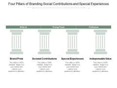 Four Pillars Of Branding Social Contributions And Special Experiences Ppt Powerpoint Presentation Summary Vector