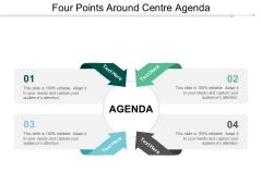 Four Points Around Centre Agenda Ppt Powerpoint Presentation Infographics Display