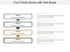 Four Points Arrows With Text Boxes Ppt PowerPoint Presentation Infographics Graphic Tips
