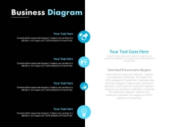 Four Points Diagram With Business Icons Powerpoint Slides
