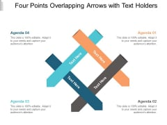 Four Points Overlapping Arrows With Text Holders Ppt Powerpoint Presentation Infographic Template Ideas