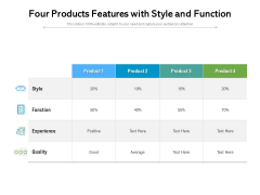 Four Products Features With Style And Function Ppt PowerPoint Presentation File Rules PDF