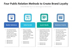Four Public Relation Methods To Create Brand Loyalty Ppt PowerPoint Presentation Pictures Slideshow PDF