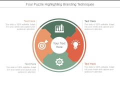 Four Puzzle Highlighting Branding Techniques Ppt PowerPoint Presentation Design Ideas