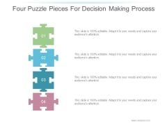 Four Puzzle Pieces For Decision Making Process Ppt PowerPoint Presentation Background Designs