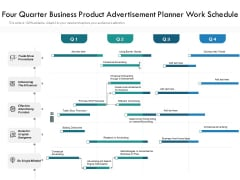 Four Quarter Business Product Advertisement Planner Work Schedule Summary