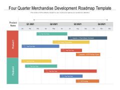 Four Quarter Merchandise Development Roadmap Template Infographics