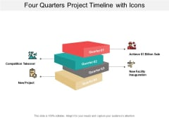 Four Quarters Project Timeline With Icons Ppt Powerpoint Presentation Pictures Graphics