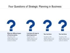 Four Questions Of Strategic Planning In Business Ppt PowerPoint Presentation Gallery Layout Ideas PDF