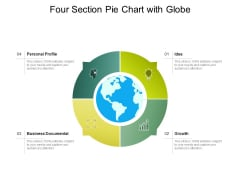 Four Section Pie Chart With Globe Ppt PowerPoint Presentation Ideas Example PDF