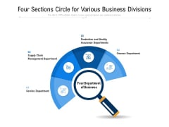 Four Sections Circle For Various Business Divisions Ppt PowerPoint Presentation File Topics PDF