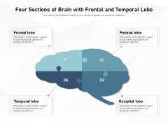 Four Sections Of Brain With Frontal And Temporal Lobe Ppt PowerPoint Presentation Icon Layouts PDF