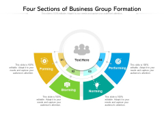 Four Sections Of Business Group Formation Ppt PowerPoint Presentation Summary Template PDF