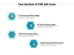 Four Sections Of CSR With Icons Ppt PowerPoint Presentation File Guidelines PDF