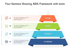 Four Sections Showing Aida Framework With Icons Ppt PowerPoint Presentation Slides Diagrams PDF