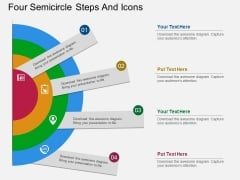 Four Semicircle Steps And Icons Powerpoint Template