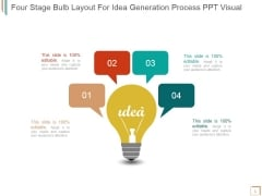 Four Stage Bulb Layout For Idea Generation Process Ppt PowerPoint Presentation Example 2015