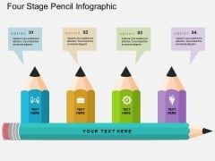 Four Stage Pencil Infographic Powerpoint Template