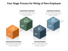 Four Stage Process For Hiring Of New Employee Ppt PowerPoint Presentation Icon Show PDF