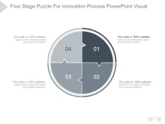 Four Stage Puzzle For Innovation Process Ppt PowerPoint Presentation Background Images