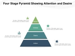 Four Stage Pyramid Showing Attention And Desire Ppt PowerPoint Presentation Gallery Guide PDF