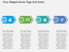 Four Staged Arrow Tags And Icons Powerpoint Template